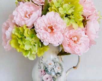 Artificial Flower Arrangement,  Pink Peonies, Lime Green Hydrangea, Hand Painted Porcelain Pitcher/Vase, Silk Flower Arrangement, Home Decor