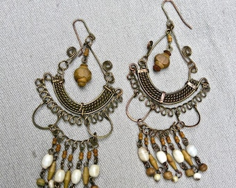 60's Brass Wood and Stone Long Dangle Earrings