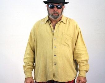 80s Tan Linen Shirt, Barney's New York Luxury Shirt, Lux Shirt, Vintage Summer Shirt, XL