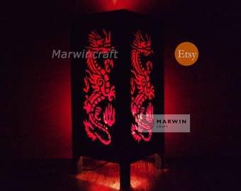 Asian Oriental Red Japanse Dragon Zen Art Bedside Floor Table Lamp Desk Paper Light Shades Gift Living Bedroom Furniture Home Decor
