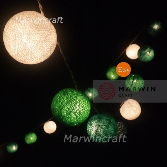 20 Cotton Balls Mixed Green Tone Fairy String Lights Party Patio Wedding Floor Table or Hanging Wall Gift Home Decor Living Bedroom Holiday