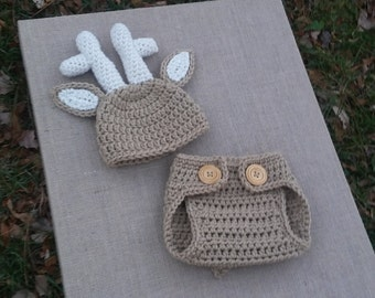 Newborn Baby Deer Diaper Cover Set, Baby Boy and Girl Deer Outfit, Baby Deer Photo Prop, Crochet Baby Deer Set, Deer Outfit