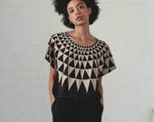 Triangle print Crop Top - organic cotton and bamboo jersey