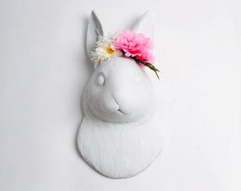 The Lola in White w/Pink Flower Crown - Wall Art - Resin Jackrabbit Head- Rabbit Mount -Faux Animal Bunny & Easter Decor Floral Crown