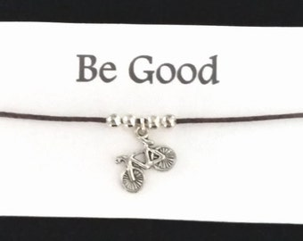 ET - Be Good Friendship bracelet on waxed cotton cord OR Silver Plated Key Ring OR Silver Plated Necklace