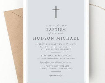 Classic Cross Baptism Invitation, Dedication Invite, Blue Christening Announcement, Modern Typography, Blue or Grey, Printed Invites or DIY