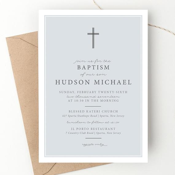 Classic cross baptism invitation dedication invite blue il570xn stopboris Gallery