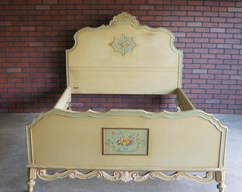 Antique Bed / Full Bed / Painted Bed / Double Bed Frame / Vintage Full Bed / Shabby Chic Bed