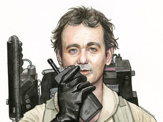 Bill Murray As Peter Venkman, Ghostbusters Art, Bill Murray Watercolor Art Print, Ghostbusters Fan, Bill Murray Portrait, Bill Murray Print