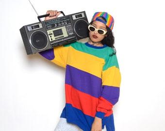 Vintage 90's Rainbow Colorblocked Oversized SweatShirt Sz L