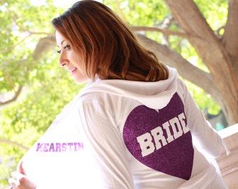 Design your own hoodie Custom Hoodies Plus Size Bride White Hoodie Bridal Wear, Personalized Sweatshirts Hoodie Jacket Hooded Sweatshirt