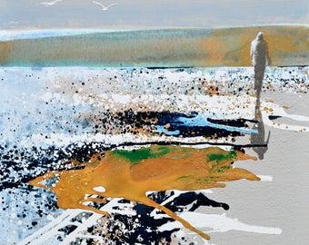 "BEACH ART - walking on the beach - ""Taking Time Out"" by Melanie McDonald - art prints - coastal wall art - coastal decor - fine art prints"