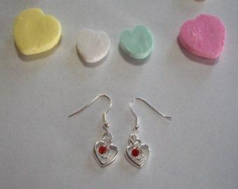 Cute Red Rhinestone Heart Earrings