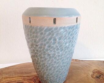 Beautiful Blue Ocean Waves Textured Studio Pottery Artisan Vase