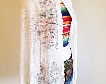 Vintage White Cape Lightweight Crochet 1970s Hippie Boho