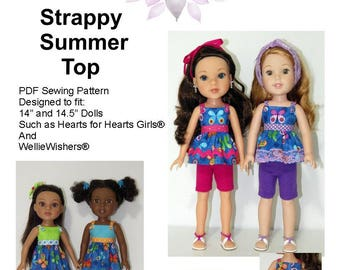 "Strappy Summer Top PDF Pattern for 14"" and 14.5"" Dolls Such as Hearts for Hearts Girls and WellieWishers"