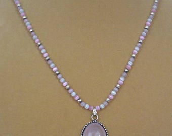 """Pretty 19"""" Cats Eye and Rose Quartz Pendant Necklace and Earrimgs Set - S092"""