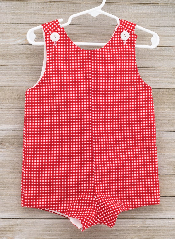 Custom made Red Gingham Jon Jon/ Romper. This outfit is perfect for the 4th of July, a picnic, or just summer/spring fun!