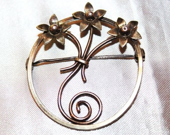 SALE! Vintage Marvelous Floral Sterling Silver Arts and Crafts Style Brooch BU1