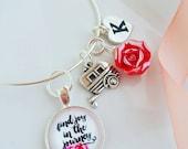 silver find joy in the journey vintage camper bangle bracelet jewlery for her gift