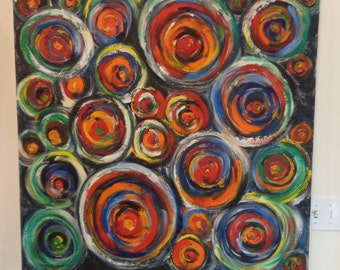 Vintage Abstract, Pop Art, Oil Painting on Canvas,Multicolored Circles,Signed and dated, Mid Century Modern