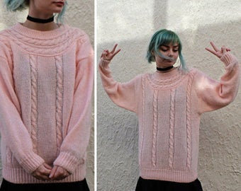 PINK Cable Knit FISHERMAN'S SWEATER Vintage Oversized 80s Modern Pullover Jumper Long Sleeved Tunic Top Fuzzy Knits Women Large Size Sweater