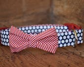 Patriotic Bow Tie or Bow Dog Collar - Navy/White Polka Dot with Red/White Stripe Bow Tie or Bow