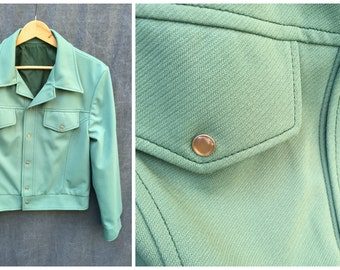 60's Seafoam Green Polyester Mod Jacket - Men's Small to Medium