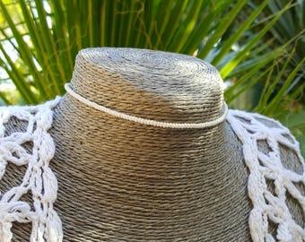 white choker seed bead necklace boho beach nautical cruise simple wedding