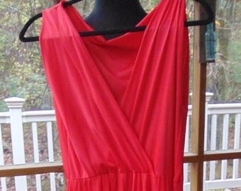 Vintage Red Cattani of California Jumper, Lingerie, Pajama, Palazzo Pants, One Piece, 1960s 1970s Size Medium