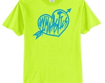 Gymnastics Heart Neon Blue Print Love Gymnastics Shirt Gymnast Shirt