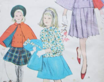 60s Girls Cape Sewing Pattern /Girls Four Gore or Full Pleated Skirt /Vogue 5429 /Straight Jacket Double Breasted /Sub-Teen Size 8 Bust 29