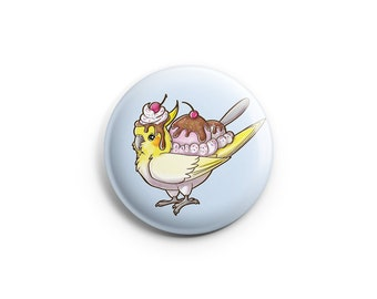 Ice Cream Chocotiel Pinback Button, Pin, Button, Badge, Cute Animal Art, Cockatiel Pin, Bird Art