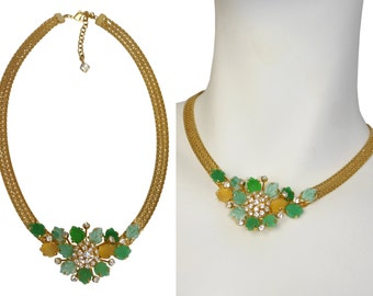 CHRISTIAN DIOR 1950s 1960s Statement Necklace Milanese Mesh Cut Glass Collier Designer Costume Jewelry Fashion Jewellery