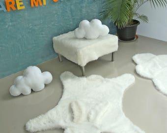 Rabbit Faux fur rug, Faux fur Bunny Rug, classic cream white soft Faux fur animal rabbit shape rug, non-slip, rabbit rug with eyes