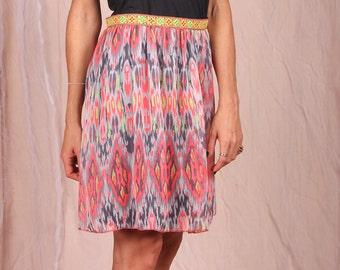 Sale / Colorful Skirt / Psychedelic Skirt / Midi Skirt / Fluffy Skirt / Printed Skirt / High Waist Or Low Waist / 2 Layer Skirt / Skirts