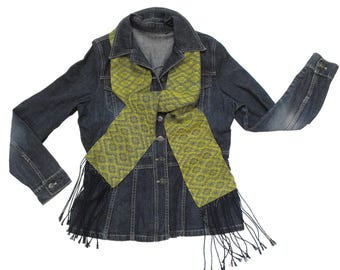 Navy and Peridot Scarf Handwoven, Blue and Green Scarf Geometric, Lemongrass Green Scarf Bright Moss, Hand Woven Navy Scarf Men Scarf Ladies