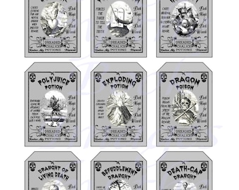 Harry Potter Potions, Dark Potions for Dark Wizards, GIFT TAGS (2 x 3 inches)