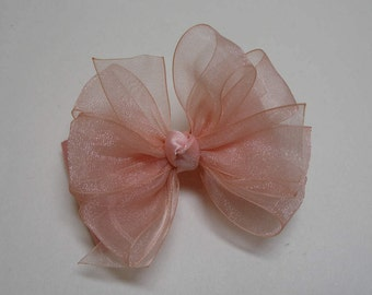 Little 3 inch Petite Sweet Ballet Pink Seashell Peach Sheer Organza Satin Hair Bow Toddler Baby Girl Small bow