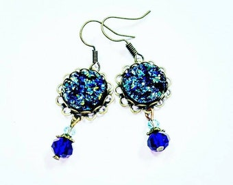 Blue sparkly bronze vintage style earrings bride bridesmaid casual elegant jewelry