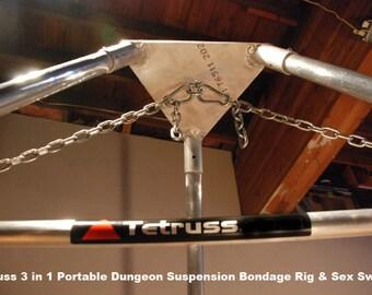 Suspension Bondage Rig, BDSM Dungeon Furniture, Sex Swing , Portable, 3 in 1! - Mini Bundle by Tetruss (Mature content)