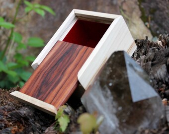 Handmade Exotic Wood Jewelry Box -Honduran Rosewood Lid -Ambrosia Maple Body -Magnetic Lid Closure -Red Velvet Lining -Velvet Pillow & Bag