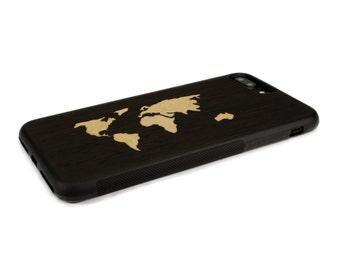 iPhone 7 Plus Case Wood World Map Inlay Wenge Maple, Wood iPhone 7 Plus Case, iPhone 7 Plus Wood Case