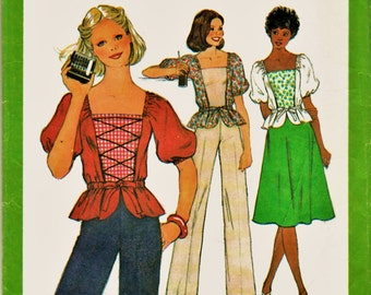 70's Simplicity Pattern 8319 Hippie Era Peplum Peasant Top w Wide Leg Pants or Skirt Sz Jr. Teen 13/1-15/16 Uncut FF Adorable BoHo Fashion