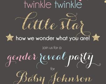 ON SALE! Gender Reveal Invitation, Confetti Gender Reveal Party Invitation, Gender Reveal twinkle twinkle little star
