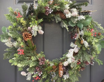Winter Wreath, Christmas Wreath, Winter Evergreen Wreaths, Winter Gifts, Gift for Her, Pinecone Wreaths, Winter Decor, Christmas Evergreen