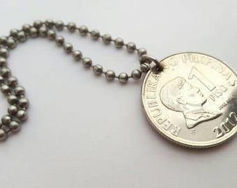 2012 Filipino Coin Necklace  - Stainless Steel Ball Chain or Key-chain - Philipines