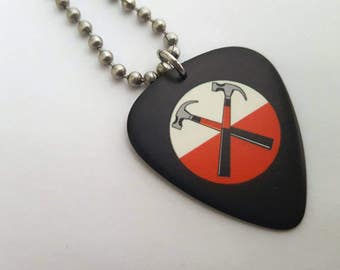 Pink Floyd Guitar Pick Necklace with Stainless Steel Ball Chain
