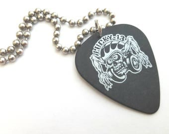 Lucky 13 Guitar Pick Necklace with Stainless Steel Ball Chain - music - tatoo imagery