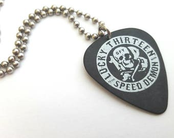 Lucky 13 Guitar Pick Necklace with Stainless Steel Ball Chain - music - tatoo imagery - speed demon - skull and cross bones